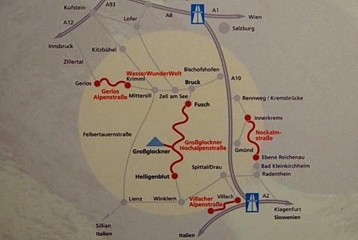 Схема панорамных дорог Парка Hohe Tauern