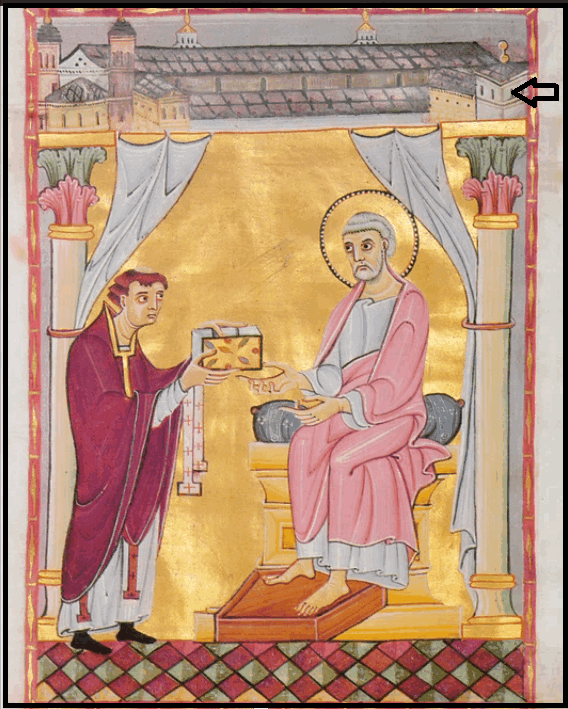 Чёрная стрелочка справа вверху указывает на изображение Старого Кёльнского собора